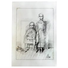 """Original Charcoal Pencil Drawing """"Two Sisters"""" inspired by the 1900s photo, made by Sergey Kamennoy."""