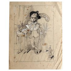 """Little Andersen"". Original Charcoal Pencil Drawing of a Little Boy with A Tin Soldier on Vintage Paper, by Sergey Kamennoy"