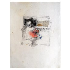 """""""Little Mozart"""". Original Charcoal Pencil Drawing of a Little Boy playing a piano, by Sergey Kamennoy"""