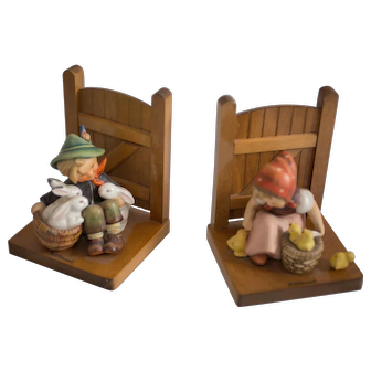 Early 20th Century Hummel Figurines Bookends -  Farm Boy/Chick Girl #60B/#61B Very Good condition - From Family Estate
