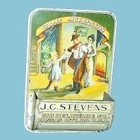 c1910 Pre-Prohibition Old Judson Whiskey Lithographed  Vintage Tin Match Box Safe