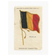 1830 Belgium National Flag - Vintage Early 1900's Sovereign Cigarette Silk - American Tobacco Company Advertising Premium - FREE WITH PURCHASE OF 2 OTHER SALE PRICED FLAG SILKS