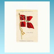 c1900 Iceland Scandinavia National Flag - Vintage Early 1900s Sovereign Cigarette Silk - American Tobacco Company Advertising Premium  - FREE WITH PURCHASE OF 2 OTHER SALE PRICED FLAG SILKS