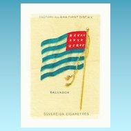 1875- 1912 El Salvador National Flag - Vintage Early 1900's Sovereign Cigarette Silk - American Tobacco Company Advertising Premium