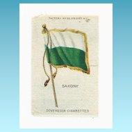 Circa 1900 Germany State - Kingdom of Saxony Flag  - Vintage Early 1900's Sovereign Cigarette Silk - American Tobacco Company Advertising Premium