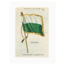 Circa 1900 Germany State - Kingdom of Saxony Flag  - Vintage Early 1900's Sovereign Cigarette Silk - American Tobacco Company Advertising Premium - FREE WITH PURCHASE OF 2 OTHER SALE PRICED FLAG SILKS