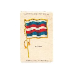 1875-1920 North Africa - Algeria National Flag - Vintage Early 1900's Sovereign Cigarette Silk - American Tobacco Company Advertising Premium - FREE WITH PURCHASE OF 2 OTHER SALE PRICED FLAG SILKS