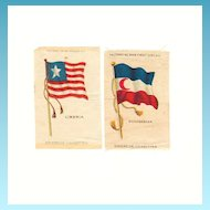 19th Century Colonial Africa Flags - 1845 Liberia and 1865-1896 Madagascar Flags - Vintage Early 1900's Sovereign Cigarette Silk - American Tobacco Company Advertising Premium