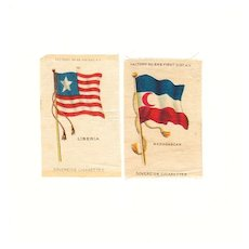19th Century Colonial Africa Flags - 1845 Liberia and 1865-1896 Madagascar Flags - Vintage Early 1900's Sovereign Cigarette Silk - American Tobacco Company Advertising Premium - FREE WITH PURCHASE OF 2 OTHER SALE PRICED FLAG SILKS