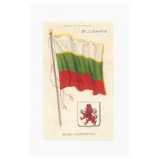 Large Bulgaria 1879 First National Flag -  Vintage Early 1900's Nebo Cigarette Silk - American Tobacco Company Advertising Premium - FREE WITH PURCHASE OF 2 OTHER SALE PRICED FLAG SILKS