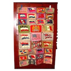 1911-1916 Tobacco Advertising Flannel Felt Vintage Blanket - Hand-Stitched - American Buffalo Bison - United States & International Flags - LARGE