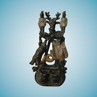 Antique Cast Iron Match Safe - Wild Game Wall-Mounted Fireplace Stove Match Holder - Huntsman's Horn, Reindeer Head, Pheasant and Rabbit - Game-board and Game-bags - European Peasant