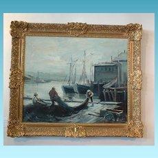 Vintage Emile Gruppe (1898-1978) Oil on Canvas Painting - Gloucester Harbor Fishermen Mending the Nets