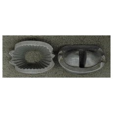 Vintage Solid Pewter Ice Cream Mould - Small Flower Basket With Handle - Circa 1880s - 1930s