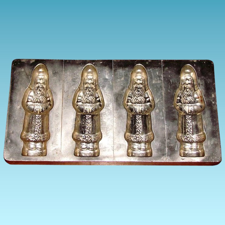 four large vintage german christmas chocolate molds alfred bodderas father christmas figural flat mold no - Christmas Candy Molds