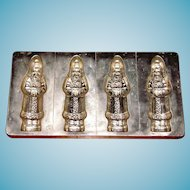 Four Large Vintage German Christmas Chocolate Molds - Alfred Bodderas Father Christmas Figural Flat Mold No. 1508