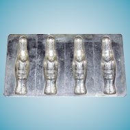 Alfred Bodderas German Easter Rabbit Chocolate Mold - Mould No.  2284 Stylized Flat Figural Standing Rabbit in Bavarian or Swiss Alpine Attire - Set of four - LARGE
