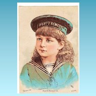 1883 Victorian Patent Medicine Rhode Island Advertising Trade Card - Doctor Hunt's Remedy Kidney And Liver Medicine - Providence, RI - Girl in Sailor Cap and Middy Blouse - 20% DISCOUNT with Purchase of 2 or More Items!!