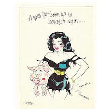 Vintage 1940s -1950s Little Abner Cartoon Character Get Well Greeting Card - Moonbeam McSwine - Comic Strip by Cartoonist Al Capp - Suitable for Framing
