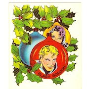 Flash Gordon Science Fiction Comic Strip & Movie Serial Characters - Flash Gordon & Dale Arden - Vintage 1951 Unused Christmas Greeting Card - Cartoonist Alex Raymond - Radio TV Movie Serial - Buster Crabbe