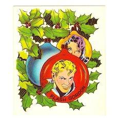 Flash Gordon Science Fiction Comic Strip & Movie Serial Characters - Flash Gordon & Dale Arden - Vintage 1951 Unused Christmas Greeting Card - Cartoonist Alex Raymond - Radio TV Movie Serial - Buster Crabbe