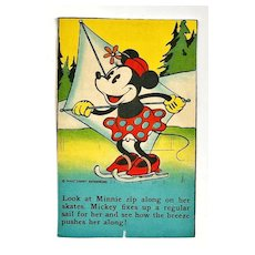 Rare Circa 1930-1940 Vintage Mickey and Minnie Mouse Cartoon Bread Premium Trading Card - Walt Disney Enterprises - Travis Bread and Bakery Products