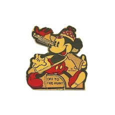 c1938 Mickey Mouse  Disney Cartoon Character - Walt Disney Enterprises Copyright - We Hope Mickey's Had a NRA Hunting Safety Class....  - Vintage Small Stand-up Cardboard Cut-out