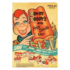 1954-1955 Howdy Doody Childrens Television Show Advertising - Howdy Doody Ice Cream Club Premium Toy Prize List - RARE