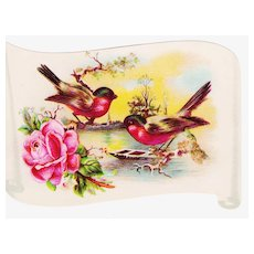 1890s Saint Louis Victorian Arithmetic School Achievement Scroll Lithograph Card Album Scrap - Red Robin Birds & Rose Scroll - Spring Landscape - Glitter Coated Branches - Embossed