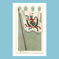 "1904 Saint Louis World's Fair Memorabilia Advertising Trade Card - Vatican Papal States ""Pontifical States"" Miniature Flag Trading Card - Cupid Brand Pickles  - Palace of Agriculture Exhibit Souvenir"