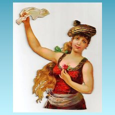 """Large Vintage Victorian Chromolithograph Album Scrap - Irish, Gaelic or Gypsy Red-Haired Girl - Christmas Dancing Dress - Cardboard Punch-out 8"""" high x 6-1/2"""" wide - 20% DISCOUNT with Purchase of 2 or More Items!!"""