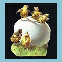 Victorian Easter Egg and Baby Chicks Vintage Album Scrap Die-cut - Semi-Glossy Embossed