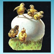 Victorian Easter Egg and Baby Chicks Vintage Album Scrap Die-cut - Semi-Glossy Embossed