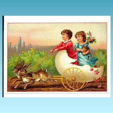 c1890s Victorian Card Album Antique  Scrap - Easter Rabbit Team and Egg Shell Carriage Driven by Brownies – Sparkling Chromolithograph