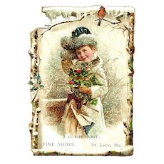 Large c1890 Victorian Girl and Christmas Holly Advertising Trade Card –  Saint Louis, Missouri – J. G. Brandt Shoe Store – Robin and Bluebird