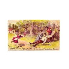 1870s Patent Medicine Victorian Advertising Trade Card Im Deutsch- Perry Davis Pain Killer - German Language