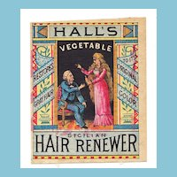 c1870s Women's Hair Dye Patent Medicine Vintage Victorian Advertising Trade Card - Hall's Vegetable Sicilian Hair Renewer