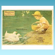 1918 Patent Medicine Advertising Trade Card - Hood's Sarsaparilla and Peptiron Laxative -  Little Boy in Pastel