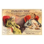 1880s Victorian Patent Medicine Advertising Trade Card - Parker's Tonic - Parker's Hair Balsam and Floreston Cologne - Before-and-After Advertising