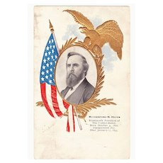 1906 US President Photo Series Rutherford B. Hayes Vintage Postcard - 19th United States President (1877-1881) -  American Flag and Gold Embossed Eagle - 1906 Meridian, Connecticut Postmark - Un-Divided Back