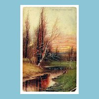 c1900 Rancocas Creek, New Jersey Landscape Art Chromolithograph Vintage Postcard - Artist Signed - Unused