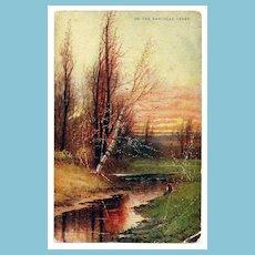 c1900 Rancocas Creek, New Jersey Landscape Art Chromolithograph Vintage Postcard - Artist Signed - Unused
