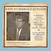 Circa 1963 President John F. Kennedy Assassination Memorial Vinyl Phonograph 45 RPM Record Album - JFK's 1961 Inaugural Address and Other Memorable Speeches - Original Paper Sleeve Record Jacket