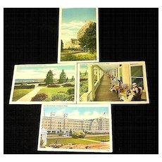 1937-1945 Swampscott MA New Ocean House Hotel Linen Postcards - Four Unused
