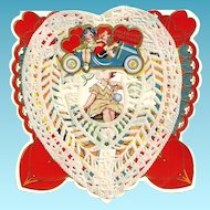 1920s Toy Automobile Car Children's Paper Lace Vintage Valentine - Toy Automobile - Art Deco Lithography - Cut-out Embossed Card - Heart-Shaped Appliqué Paper Lace