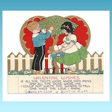 1920s Art Deco Children's Vintage Valentine - Gold Leaf - Vivid Color Lithography - Cut-out Flat Card