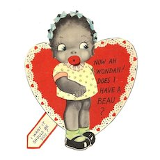 1920s African American Children's Vintage Valentine - Black Americana Little Girl Caricature -Vivid Color Lithography - Cut-out Flat Card