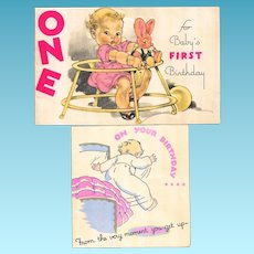 Two c1936 Rust Craft Baby Girl Birthday Greeting Vintage Satin Finished Cards - Bunny Rabbit - Child Walker - Pink Dress