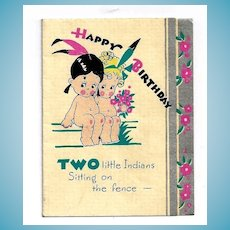 """c1937 Two Naked """"Indian"""" Cartoon Native American Little Girls Vintage Linen Card - 2-Year Old  Baby Girl Birthday Greeting - Silver Gilt Trim"""