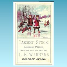 c1880s Childrens Winter Sports Victorian Advertising Trade Card - Ice Pond - Adults Skating - L. B. Warner Clothing Store Stock Card